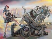 La ragazza partigiana in armatura controlla lo straniero più sconosciuto sconfigguto Illustrazione della fantascienza illustrazione vettoriale