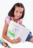 La ragazza piacevole mostra la sua illustrazione fotografie stock