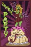 La ragazza pon pon dello zombie salta del dolce Personaggio dei cartoni animati Immagine Stock