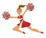 La ragazza pon pon in uniforme con i pompon mette in mostra ed incoraggiando sul gruppo illustrazione di stock