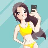 La ragazza prende un selfie della foto illustrazione vettoriale