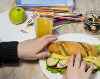 La ragazza raccoglie un panino a scuola, sulle matite di una tavola, sulle graffette, sulla mela, sul succo, sui frutti secchi e  fotografia stock libera da diritti