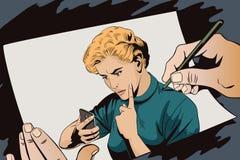 La ragazza rimprovera lo smartphone La gente nel retro stile Immagine Stock