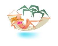 La ragazza riposa sul mare, prendente il sole, si rilassa la menzogne in amaca illustrazione vettoriale