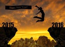 La ragazza salta al nuovo anno 2016 Fotografie Stock