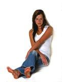 la ragazza scura gorges lungamente i capelli Fotografia Stock Libera da Diritti