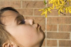 La ragazza sente l'odore dei fiori Fotografia Stock