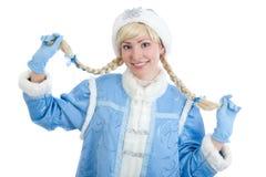 La ragazza si è vestita in costume russo di natale Fotografie Stock Libere da Diritti