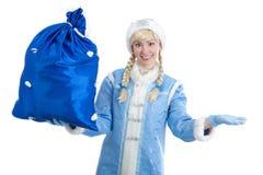 La ragazza si è vestita in costume russo di natale Fotografie Stock
