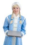 La ragazza si è vestita in costume russo di natale Fotografia Stock Libera da Diritti