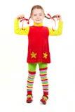 La ragazza si è vestita nel colore rosso e nel colore giallo Immagine Stock Libera da Diritti