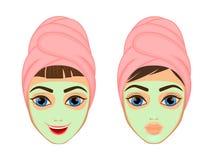 La ragazza si preoccupa e protegge il suo fronte con le varie azioni, facial, il trattamento, bellezza, sana, igiene, stile di vi Fotografia Stock Libera da Diritti