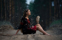 La ragazza si siede sul sentiero forestale con il gufo sulle sue ginocchia fra il fluf di volo Immagine Stock