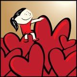 La ragazza si siede sul vostro cuore. illustrazione vettoriale