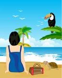 La ragazza si siede sulla spiaggia Immagini Stock
