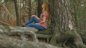 La ragazza si siede in un grande movimento lento delle radici della foresta del pino archivi video