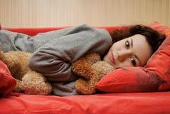 La ragazza si sveglia Fotografie Stock Libere da Diritti