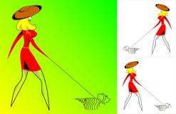 La ragazza - signora con un cane - vettore Fotografia Stock