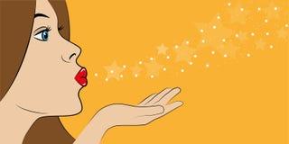 La ragazza soffia i desideri delle stelle royalty illustrazione gratis