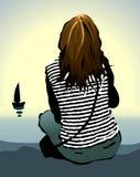 La ragazza sola Immagini Stock