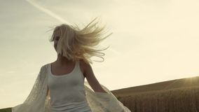 La ragazza sorridente con bei capelli esegue l'incrocio il campo di grano dorato Movimento lento, colpi dello stabilizzatore Gioi video d archivio