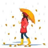La ragazza sorridente sveglia del fumetto in cappotto rosso e gli stivali con le foglie cadenti del automn filano in vento Immagini Stock Libere da Diritti