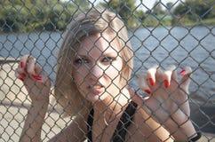 La ragazza spitefully ha grippato le mani una griglia Immagine Stock