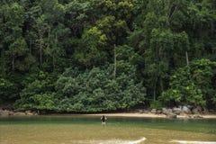 La ragazza sta nell'acqua davanti alla collina enorme coperta di alberi immagini stock libere da diritti