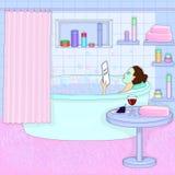La ragazza sta prendendo un bagno Rilassamento Ragazza con una maschera sul suo fronte illustrazione vettoriale