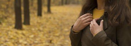 La ragazza sta sui precedenti della foresta di autunno immagini stock