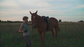 La ragazza sta tenendo il cavallo per le redini archivi video