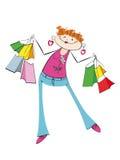 La ragazza stilizzata con gli acquisti Fotografia Stock