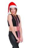 La ragazza su una dieta del ` s del nuovo anno Ragazza con nastro adesivo di misurazione intorno al suo collo dieta di Post-festa Fotografia Stock