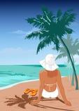 La ragazza su una spiaggia Immagine Stock Libera da Diritti