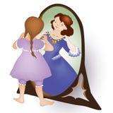 la ragazza sveglia che esamina lo specchio e vede principessa royalty illustrazione gratis