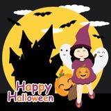 La ragazza sveglia come strega, il fantasma e la zucca sulla notte fortificano il fumetto del fondo, la cartolina di Halloween, l Fotografie Stock