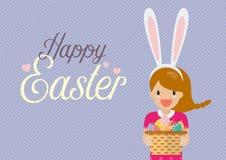 La ragazza sveglia con le orecchie del coniglietto maschera il canestro della tenuta in pieno dell'uovo di Pasqua Fotografia Stock