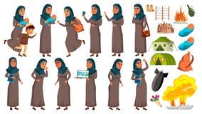 La ragazza teenager araba e musulmana posa il vettore stabilito Rifugiato, guerra, bomba, esplosione, panico per web design Fumet royalty illustrazione gratis