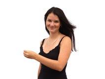 La ragazza teenager tiene il vostro prodotto 3 Fotografia Stock