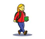 La ragazza teenager va a scuola illustrazione vettoriale