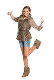 La ragazza tiene i suoi pollici su Immagine Stock Libera da Diritti