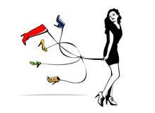 La ragazza tiene le scarpe Immagini Stock Libere da Diritti