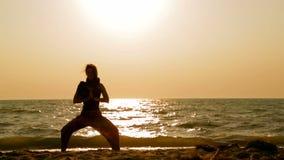 La ragazza tiene la meditazione sulla spiaggia video d archivio