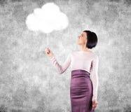 Ragazza con la nuvola Immagine Stock Libera da Diritti