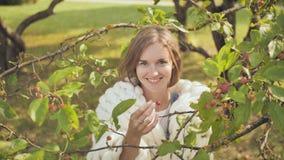 La ragazza tocca le ciliege sui rami dell'autunno in anticipo della ciliegia in un parco avvolto in un bianco del merino video d archivio