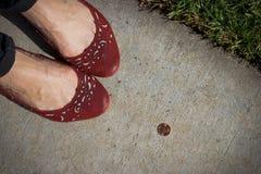 La ragazza trova un penny Immagini Stock