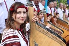 La ragazza ucraina con un bandura Fotografia Stock Libera da Diritti