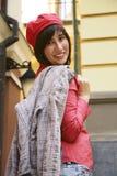 La ragazza in un berreto arancione Immagine Stock Libera da Diritti
