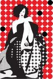 La ragazza in un vestito avaning sul colore rosso illustrazione di stock