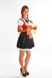 La ragazza in un vestito bavarese tradizionale Fotografia Stock Libera da Diritti
